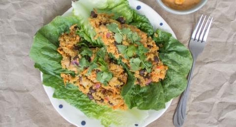 Harissa Tahini Romaine Wraps and Salad