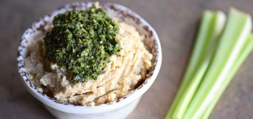 Roasted Garlic & Cauliflower Hummus With Kale Pesto